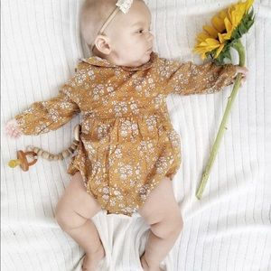 11b16dc5913a One Pieces - Brand New Mustard Floral Baby Girl Romper 6-12 M